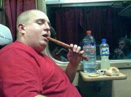 Fat man loves kabanos